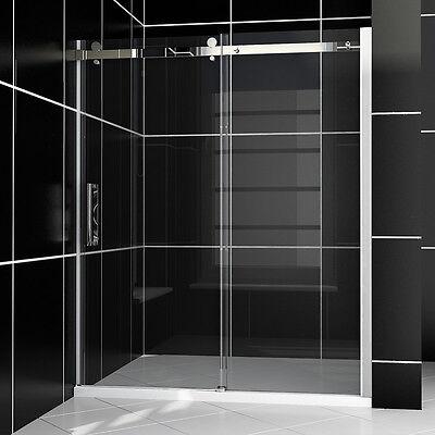 """Light-hearted SHOWER Semi-Frameless Sliding Shower Doors 60"""" Clear 5/16"""" Heavy Tumbler"""