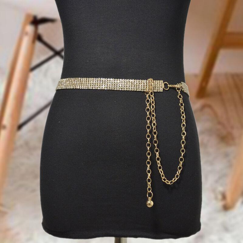 Womens Belt Full Rhinestone Waist Chain Waistband Shiny Crys