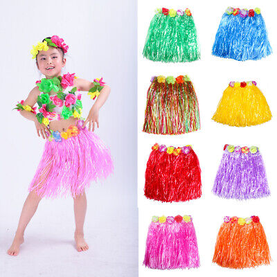 Hawaiian Hula Grass Flower Skirt Dress Dancing Party Beach Adult Costume Newly Clothing, Shoes & Accessories