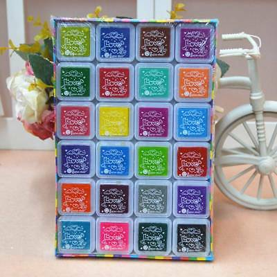 - 24 Colors Craft Finger Ink Pad Fingerpaint Washable Ink Pads for Rubber Stamps