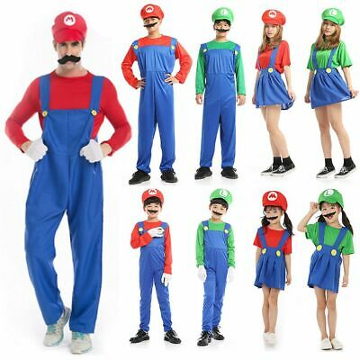 Super Mario Dress Up Costume (Kids Super Mario Luigi Bros Fancy Dress Costume Cosplay Mens Womens Outfit)