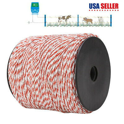 500m Fence Wire Roll Conductive Rope Whitered Electric Livestock Fence