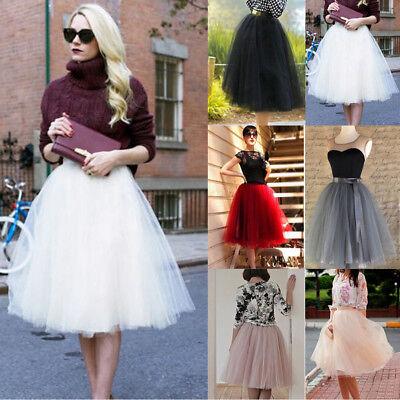 7 Layer Damen Tüllrock Hochzeitskleid Tütü Tutu Petticoat Ballkleid Party Dress ()