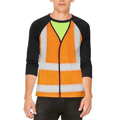 Halloween Road Worker Construction Vest Costume Mens Raglan T Shirt - Road Worker Halloween Costumes