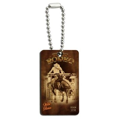 Western Rodeo Vintage Horse Riding Wood Wooden Rectangle Keychain Key Ring