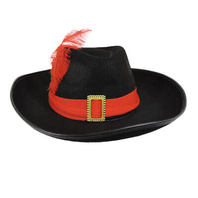Pirate Hat With Feather (Three Musketeers Hat Costume Theatrical Pirate with Red Sash and)