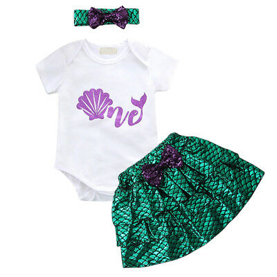 3pcs Little Mermaid Ariel Fancy Costume Baby Girl Romper Skirt Birthday Outfits