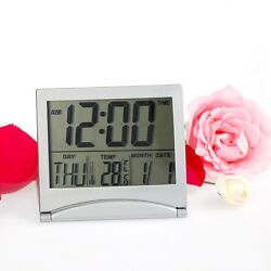 Digital LCD Weather Station Folding Desk Temperature Travel Alarm Clock Date New