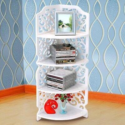 Corner Storage Unit (4-Tier Waterproof Shelf Unit Modern Storage Organizer Wood Plastic Corner Shelf)