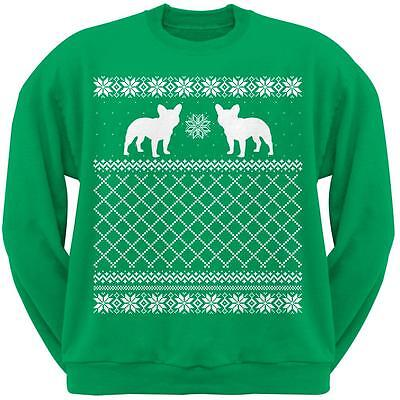French Bulldog Green Adult Ugly Christmas Sweater Crew Neck -