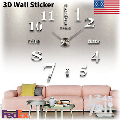 3D Free Style Clock Wall Stickers Decal DIY Art Mural Removable Home Room Decor