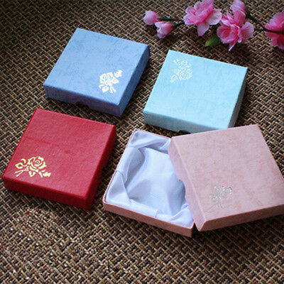 - 2 PC Present Gift Boxes For Necklace Bracelet Jewelry Ring Earring Floral #US G