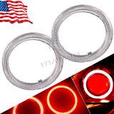 2x 70mm Pure Red COB LEDs Angle Eyes Halo Ring Kit Fog Housing Lamps 12V-24V US