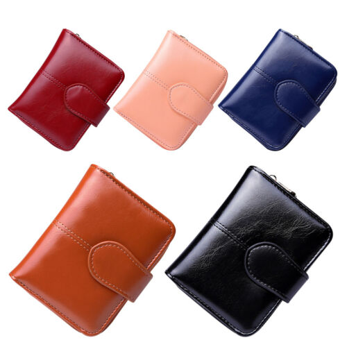 Women PU Leather Mini Wallet Coin Card Keychain Holder Short