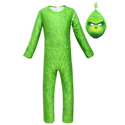 2018 The Grinch Cosplay Kid's Jumpsuit Mask Costume Green Suit New Year Outfit](Child Grinch Costume)