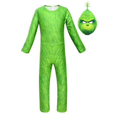 2018 The Grinch Cosplay Kid's Jumpsuit Mask Costume Green Suit Christmas Outfit - Grinch Kids Costume