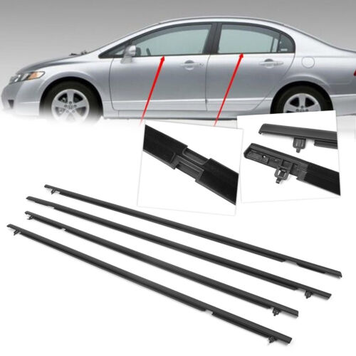 4x Outside Window Weatherstrip Moulding Seal Belt Trim For Honda Civic 2006-2011