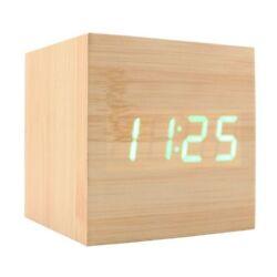 Wooden Alarm Clock USB Digital Retro Alarm Clock Cube Wood Led Desktop Table ...