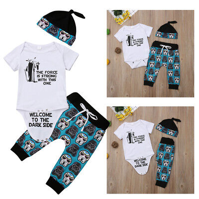 US 3Pcs Newborn Kids Baby Boy Romper Tops +Long Pants Hats Outfits Clothes 0-18M](Childrens Top Hats)