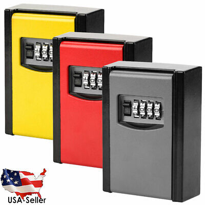 4 Digit Password Combination Key Lock Box Security Storage Outdoor Wall Mounted