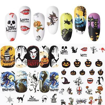 sser Decals Schädel Halloween Maniküre Transfer Nail Sticke (Halloween-maniküre)