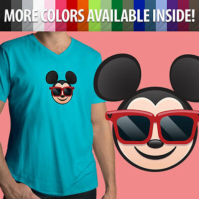 Mickey Emoji (Sunglasses Mickey Mouse Emoji Disney Shades Cool Smile Mens Tee V-Neck T-Shirt)