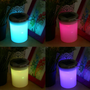 Solar Hanging Cylinder Outdoor Color Changing Multi Color RGB Lantern Light