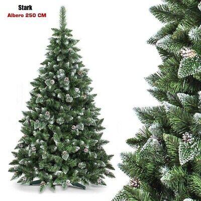 Albero Di Natale STARK 250 Cm 1600 Rami Folto e Innevato Con Pigne Base a Croce