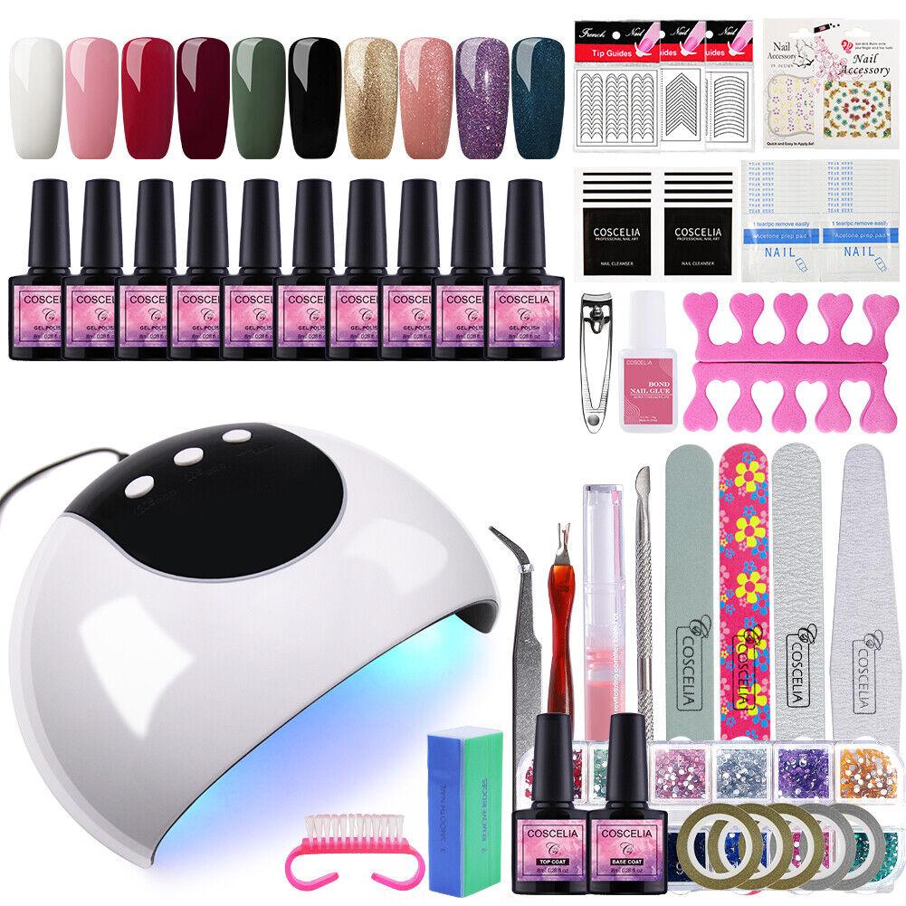 Coscelia Nail Art Kit Gel Nail Polish Manicure Tools UV LED Lamp Top Base Coat - $19.99