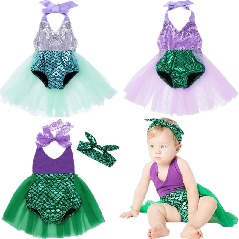 Kid Infant Baby Girls Mermaid Romper Outfit Bodysuit Jumpsuit Swimsuits Tutu Party Dress Skirt Summer Clothes Set