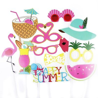 12pcs HAPPY SUMMER Photo Booth Props Hawaii Party Carnival Photography Decor