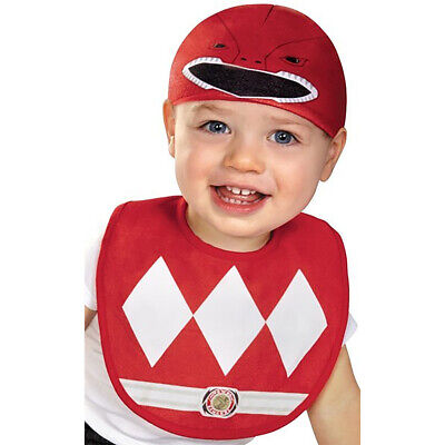 Disguise Baby Power Rangers Mighty Morphin Red Ranger Infant Bib and Hat Costume (Infant Power Ranger Costume)