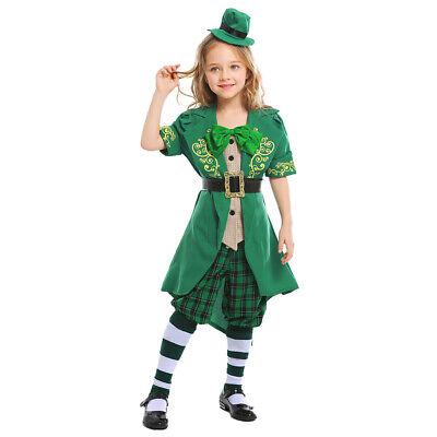 Girls Leprechaun St Patrick's Day Irish Festive Cosplay Costume Carnival Green - Girls Leprechaun Costume