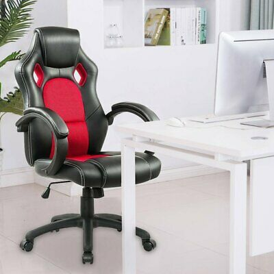 Red Office Executive Racing Gaming Chairs Swivel PU Leather Computer Desk Chair