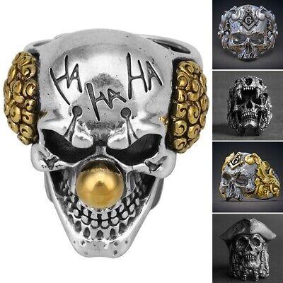 New Cool Boys (Men's Stainless Steel Cool Gothic Punk Skull Head Boy Biker Finger Ring)