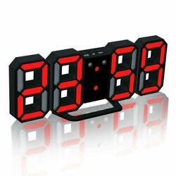 Modern Electronic LED Digital Alarm Clock Auto Night Brightness LED Black / Red
