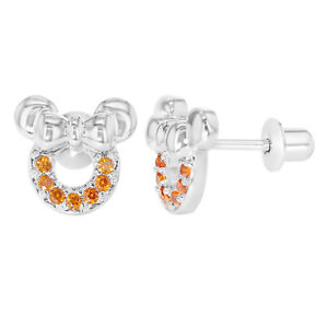 Rhodium Plated Orange Cz Mouse Bow Back Earrings Toddler