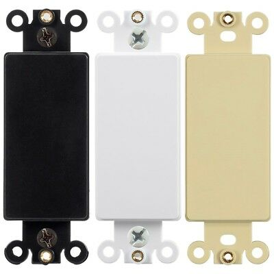 Blank Decora Filler Insert Wall Plate Cover Plastic Smooth Black White Ivory Blank Wall Plate Cover