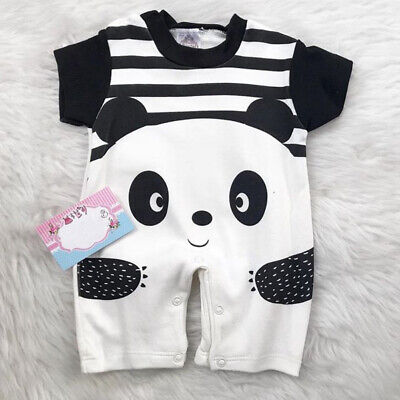 US Cute Kids Baby Boys Girls Cartoon Panda Print Romper Jumpsuit Bodysuit Outfit