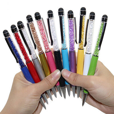 11 X Fashion Top Diamond Crystal Ballpoint Pens Bling Stylus Touch Pen Blue Ink