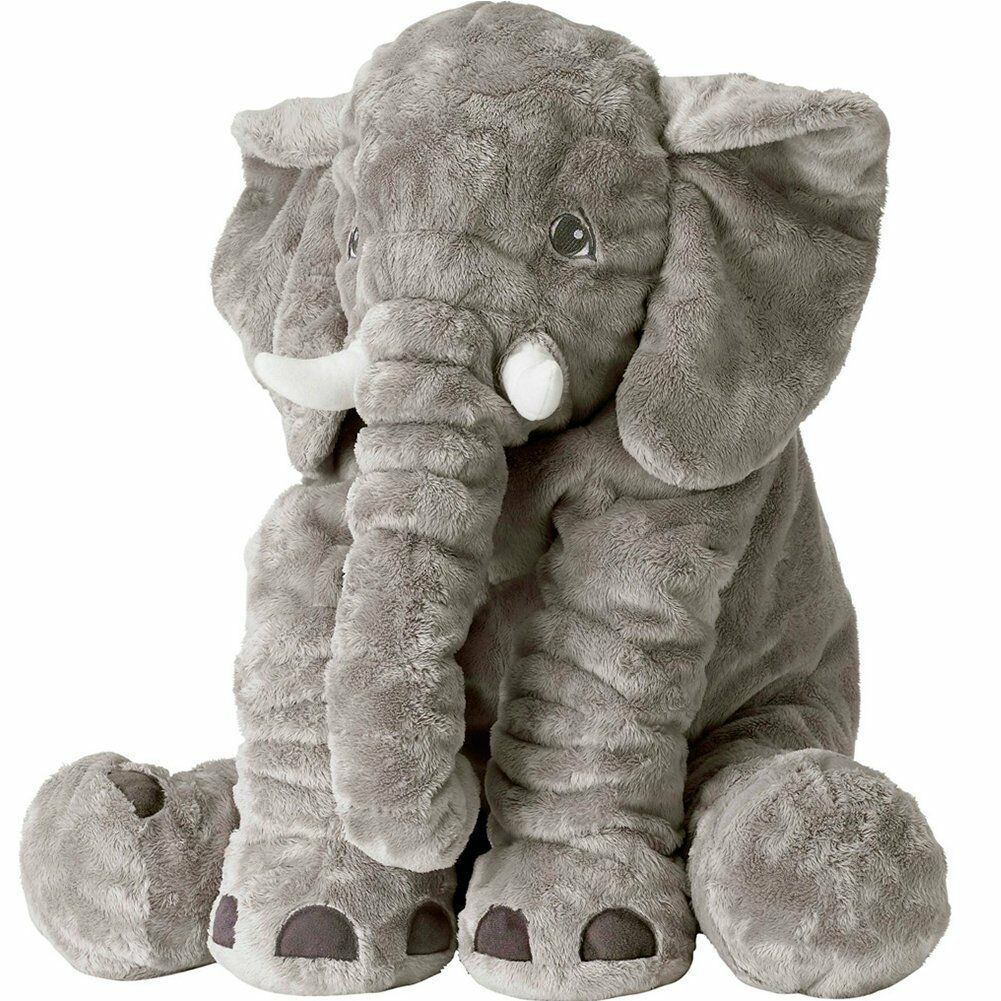 XXL Stuffed Animal Elephant Toy Plush Pillow grey 24 inch Ki