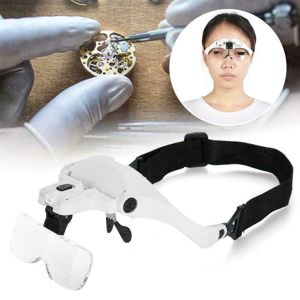 Magnifying Glass Lens LED Light Lamp Visor Head Loupe Jeweler Headband Magnifier 10