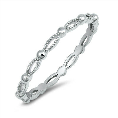 - Thin Infinity Eternity Stacking Wedding Ring 925 Sterling Silver Band Sizes 2-10