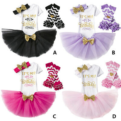 It's My First Birthday Romper Skirts Cake Photo Smash 4PCs Outfits for Baby Girl - First Birthday Cakes For Girls