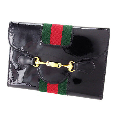 Auth GUCCI triple fold Wallet horsebit unisexused J21865