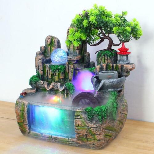 Rockery Water Fountain Desktop Chinese Fengshui Lamp Waterfa
