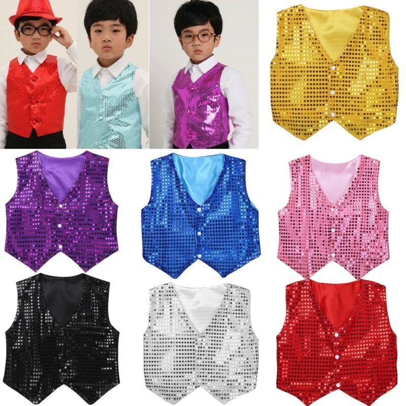 Kid Children Boy/'s Glitter Sparkly Sequin Tie Dance Show Fancy Dress Christmas