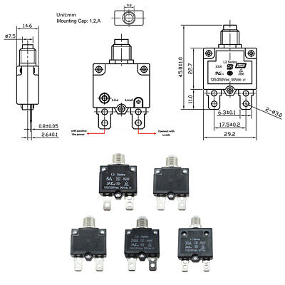 5a10a15a20a30amp Push Button Resettable Thermal Circuit Breaker Panel Mounts