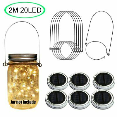20 LED Solar Mason Jar Lid Fairy String Lights Xmas Wedding Garden Decor Lamp ()