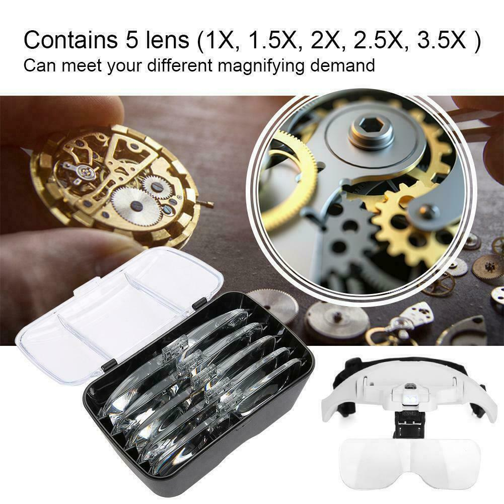 Magnifying Glass Lens LED Light Lamp Visor Head Loupe Jeweler Headband Magnifier 4